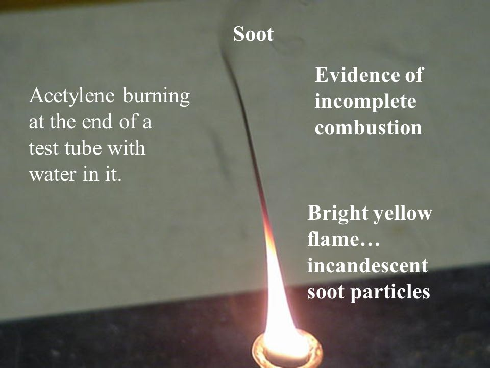 Soot Evidence of. incomplete. combustion. Acetylene burning. at the end of a. test tube with. water in it.