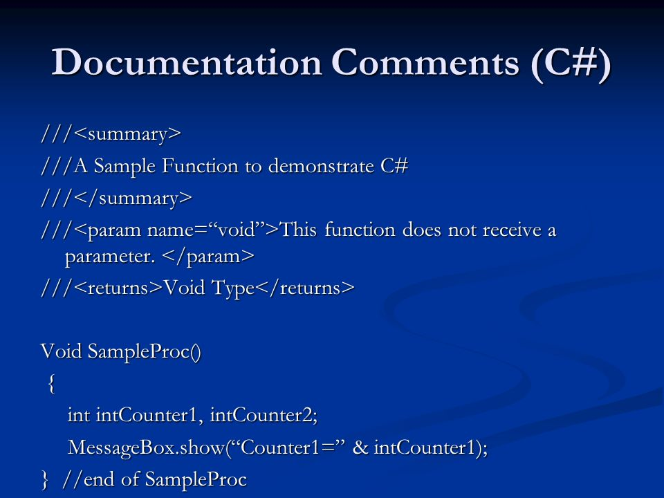 Documentation Comments (C#)
