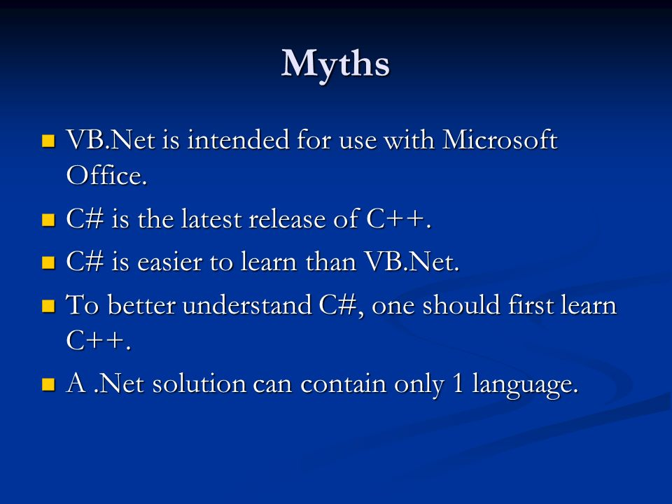 Myths VB.Net is intended for use with Microsoft Office.