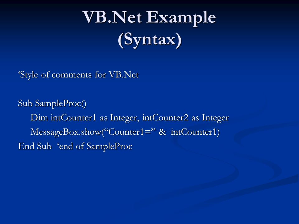 VB.Net Example (Syntax)