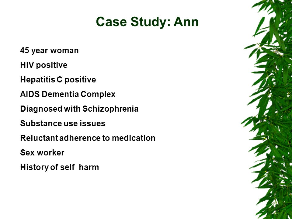 a case study of a schizophrenia patient Lists nimh clinical trials/studies for schizophrenia that are currently  clinical trial of avl-3288 in schizophrenia patients study type .