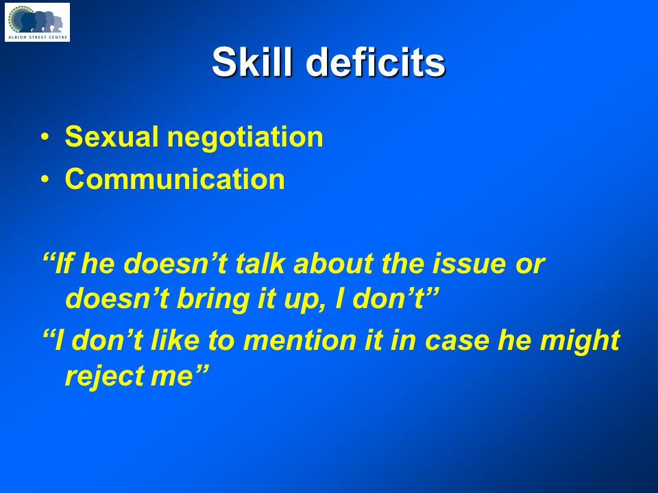 Skill deficits Sexual negotiation Communication