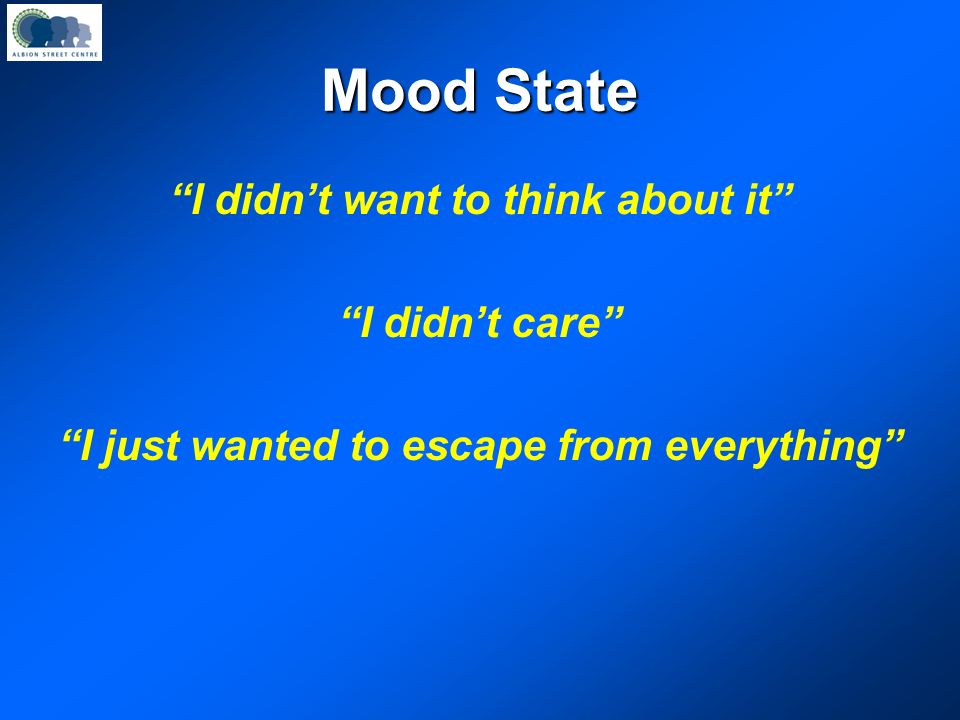 Mood State I didn't want to think about it I didn't care