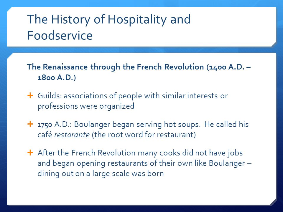 Overview of the restaurant and foodservice industry ppt - The history of french cuisine ...