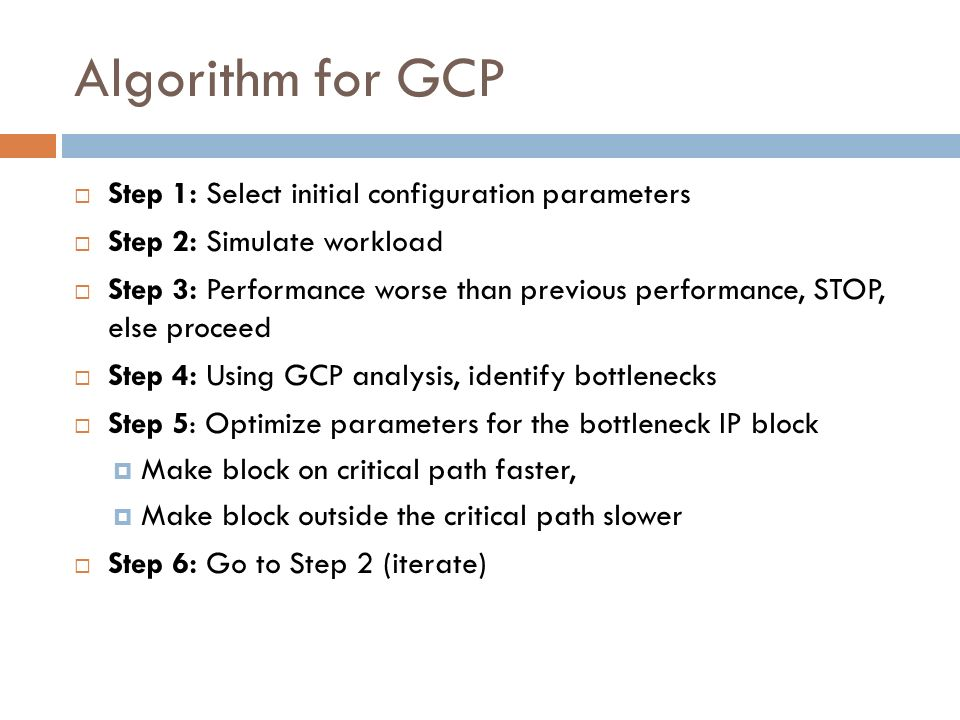 Algorithm for GCP Step 1: Select initial configuration parameters