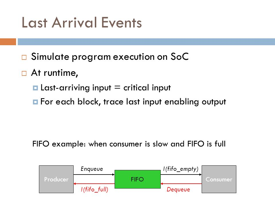 Last Arrival Events Simulate program execution on SoC At runtime,