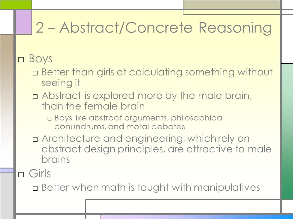 2 – Abstract/Concrete Reasoning
