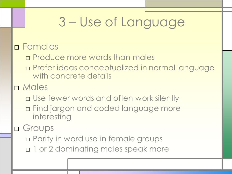 3 – Use of Language Females Males Groups Produce more words than males