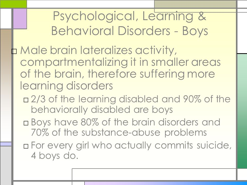 Psychological, Learning & Behavioral Disorders - Boys