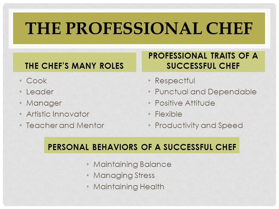 how to become a successful chef