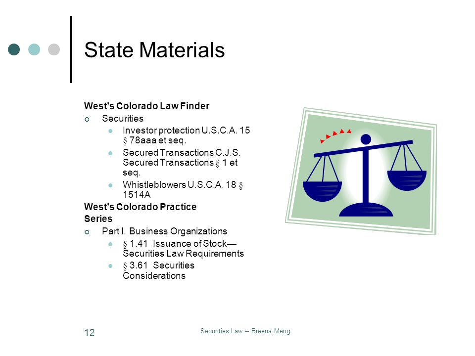 Securities Law -- Breena Meng