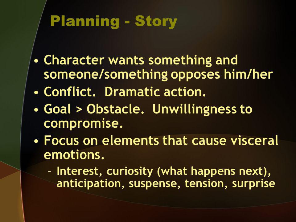 Planning - StoryCharacter wants something and someone/something opposes him/her. Conflict. Dramatic action.