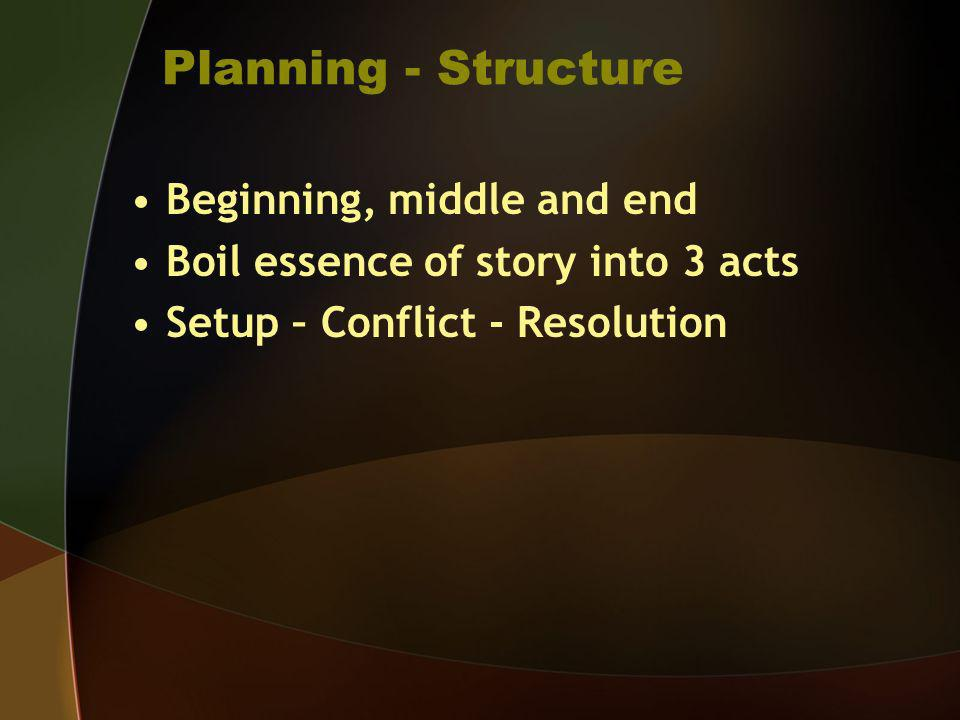 Planning - Structure Beginning, middle and end