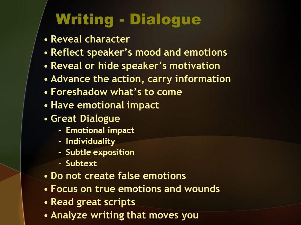 Writing - Dialogue Reveal character
