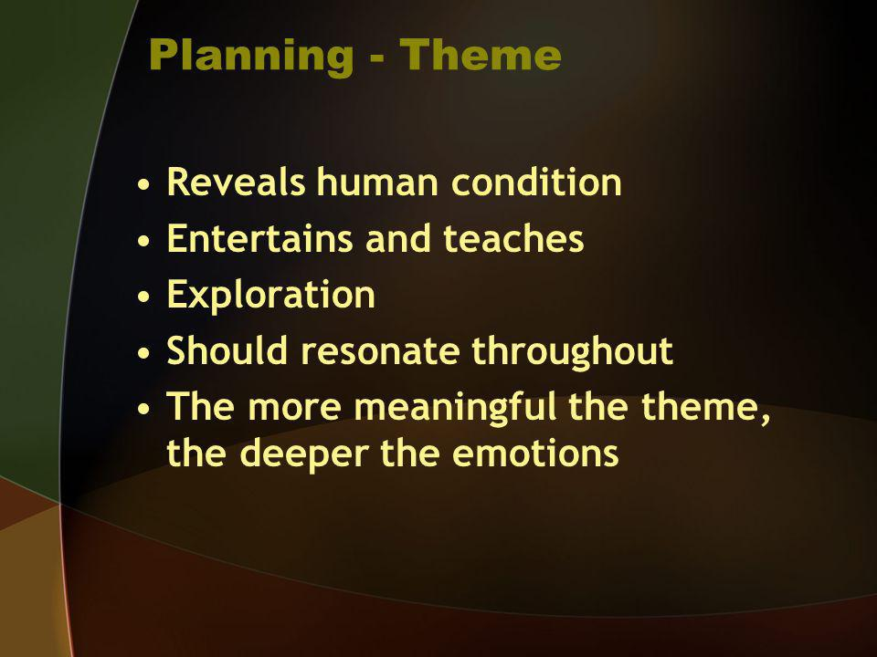 Planning - Theme Reveals human condition Entertains and teaches