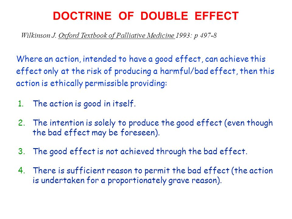 DOCTRINE OF DOUBLE EFFECT