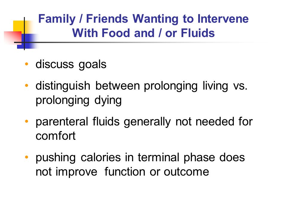 Family / Friends Wanting to Intervene With Food and / or Fluids