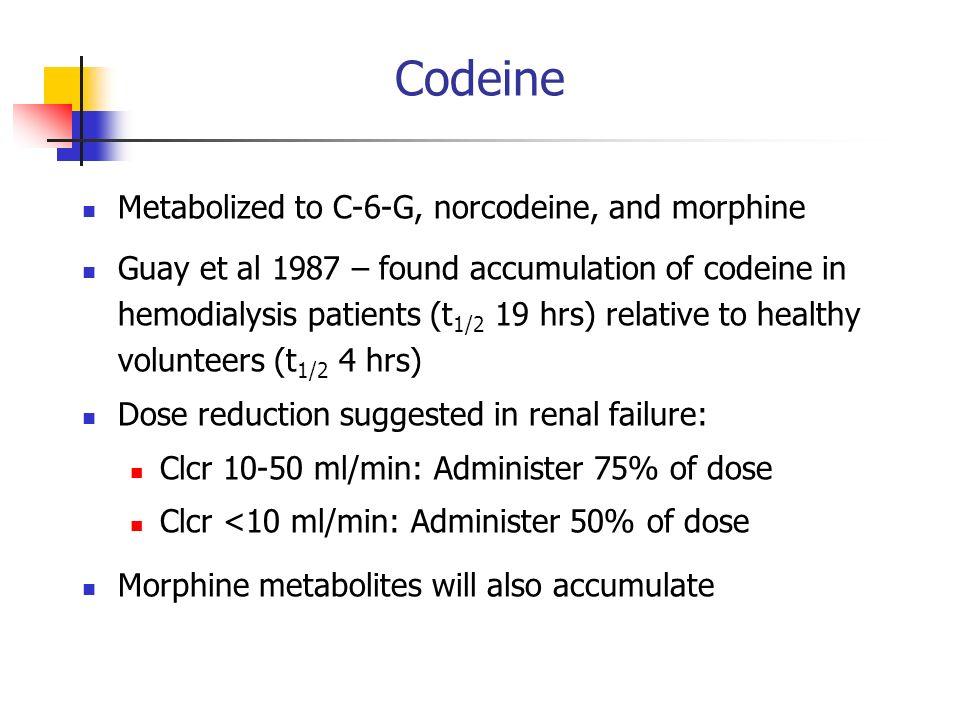 Codeine Metabolized to C-6-G, norcodeine, and morphine