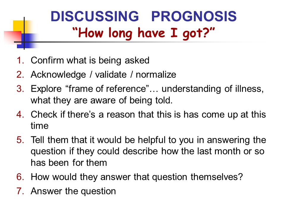 DISCUSSING PROGNOSIS How long have I got