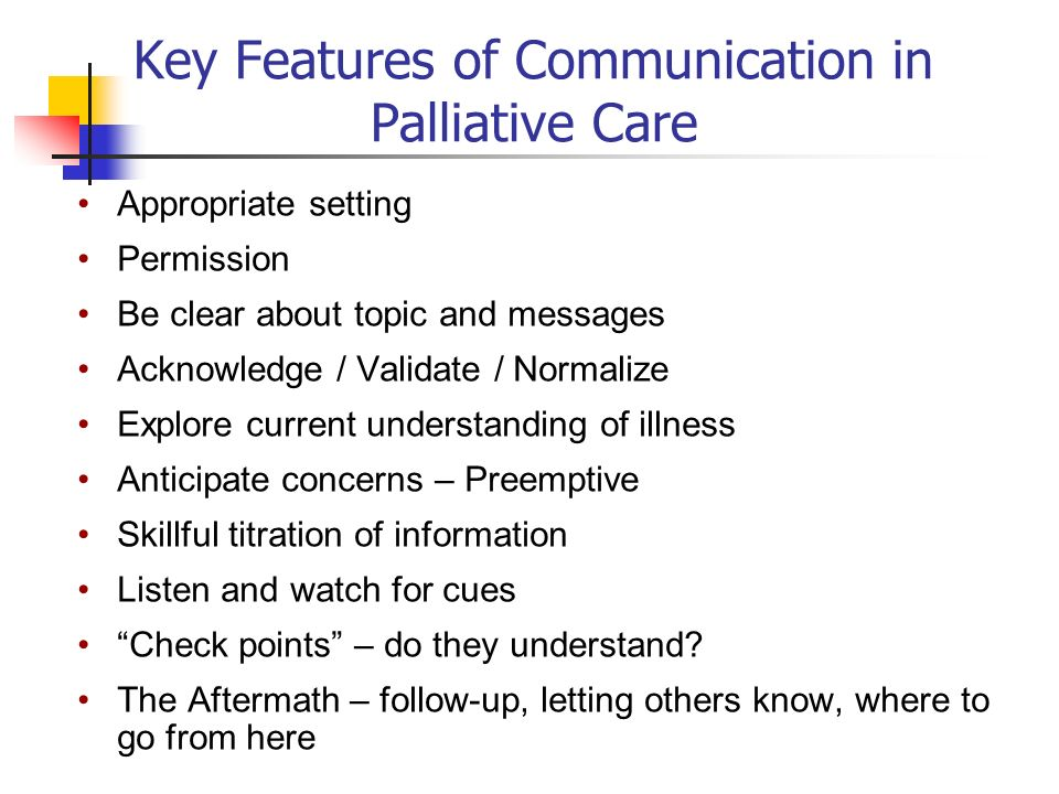 Key Features of Communication in Palliative Care