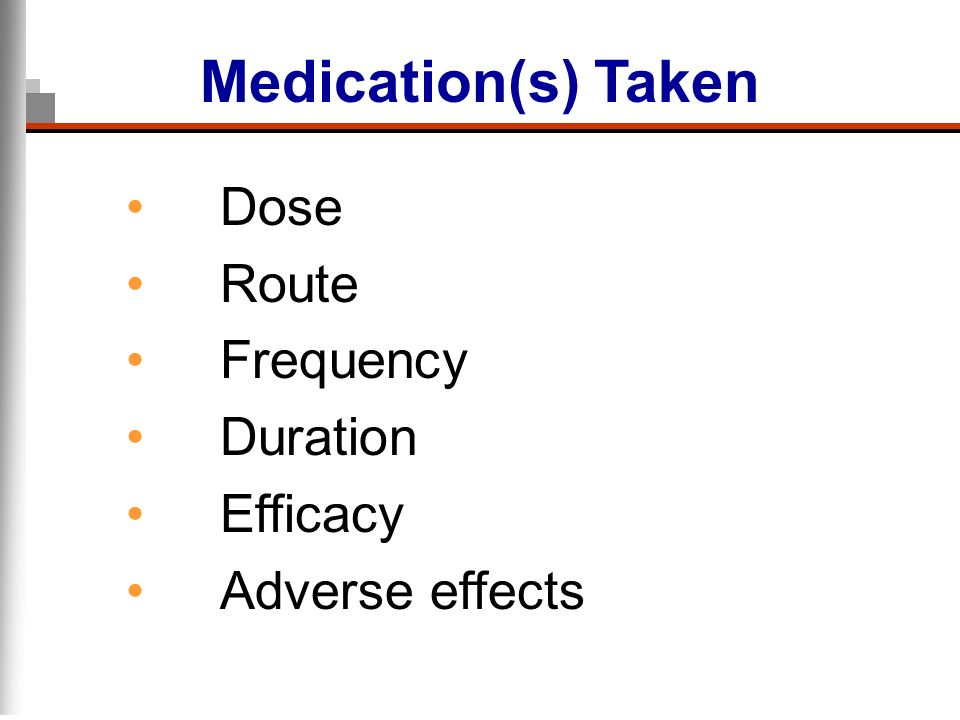 Medication(s) Taken Dose Route Frequency Duration Efficacy
