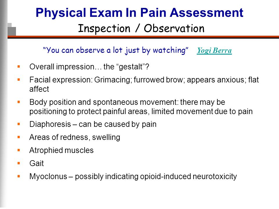 Physical Exam In Pain Assessment Inspection / Observation