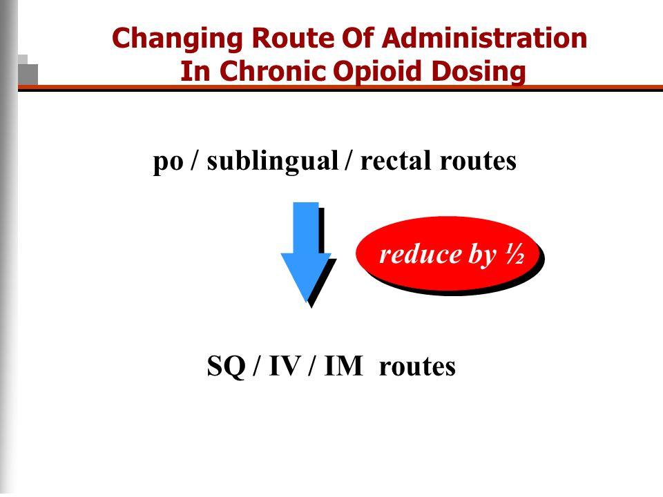 po / sublingual / rectal routes SQ / IV / IM routes