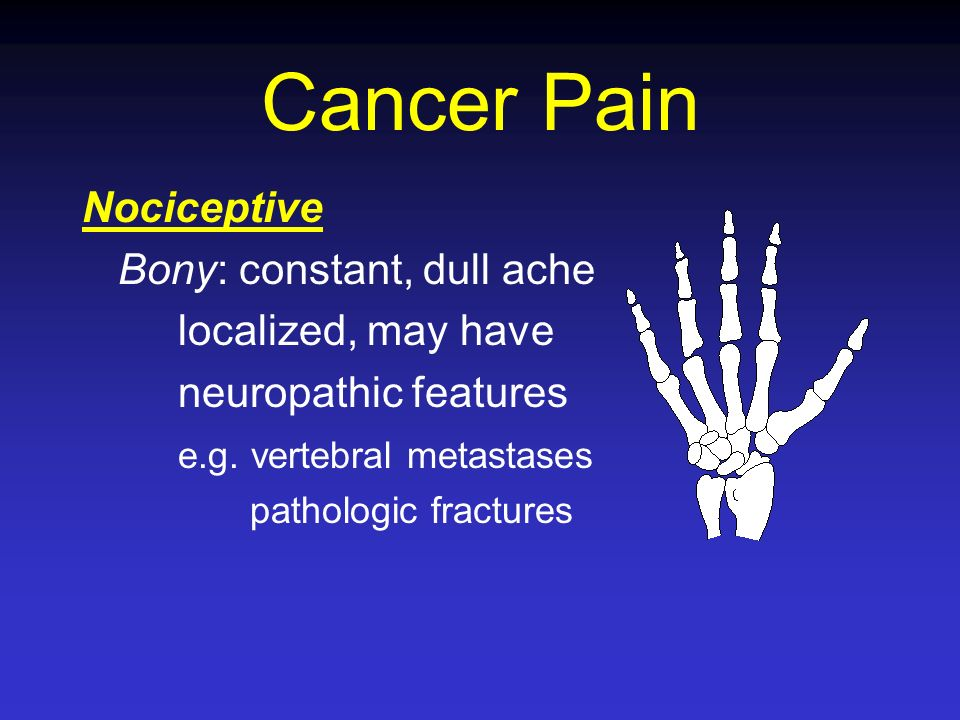Cancer Pain Nociceptive Bony: constant, dull ache localized, may have