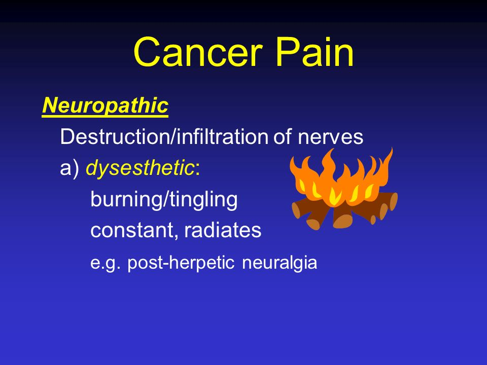 Cancer Pain Neuropathic Destruction/infiltration of nerves