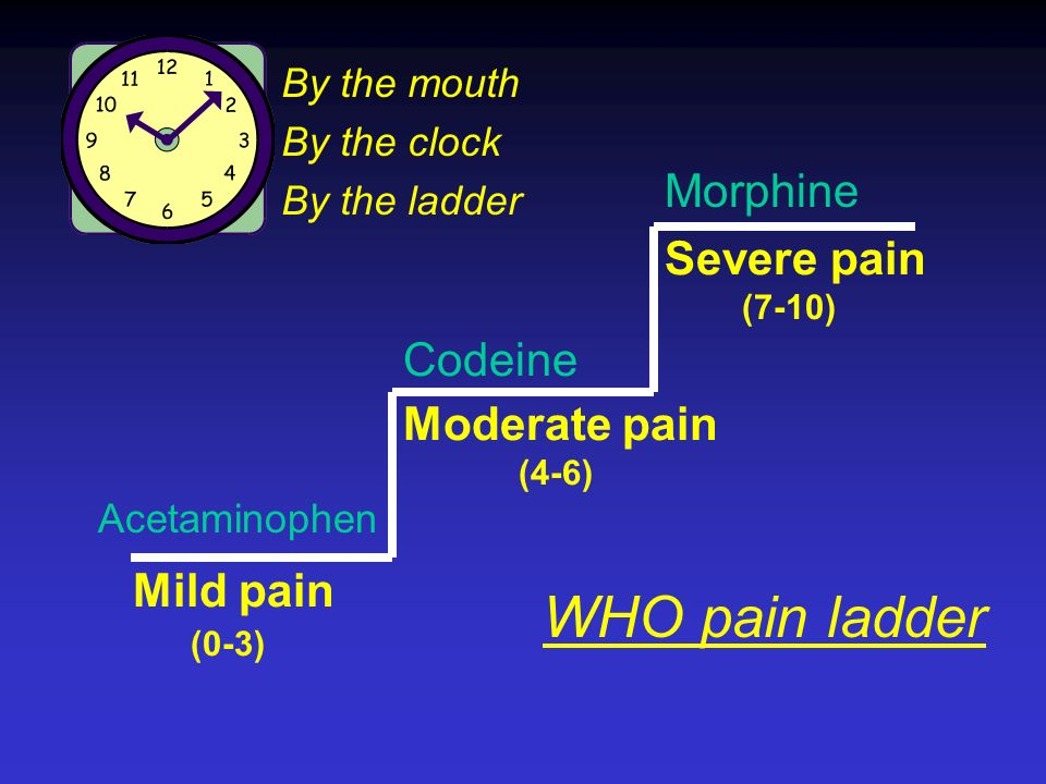 WHO pain ladder Morphine Severe pain Codeine Moderate pain Mild pain