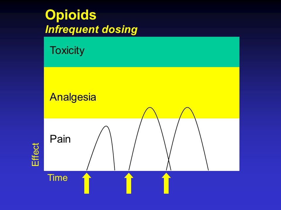 Opioids Infrequent dosing Toxicity Analgesia Pain Effect Time