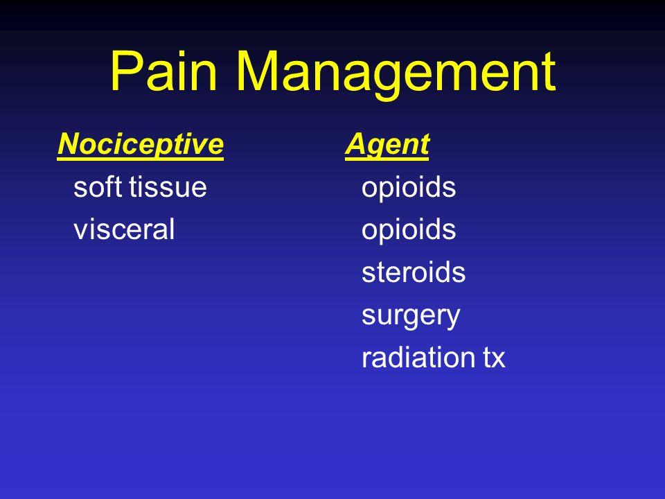 Pain Management Nociceptive soft tissue visceral Agent opioids