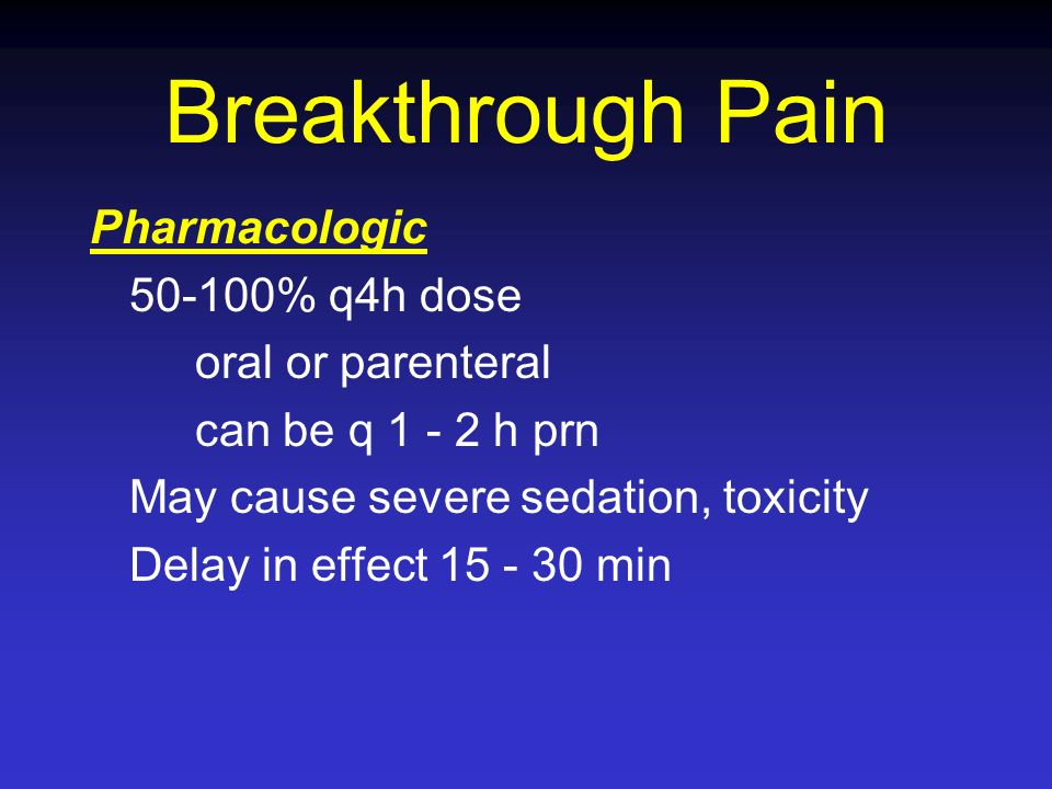 Breakthrough Pain Pharmacologic 50-100% q4h dose oral or parenteral