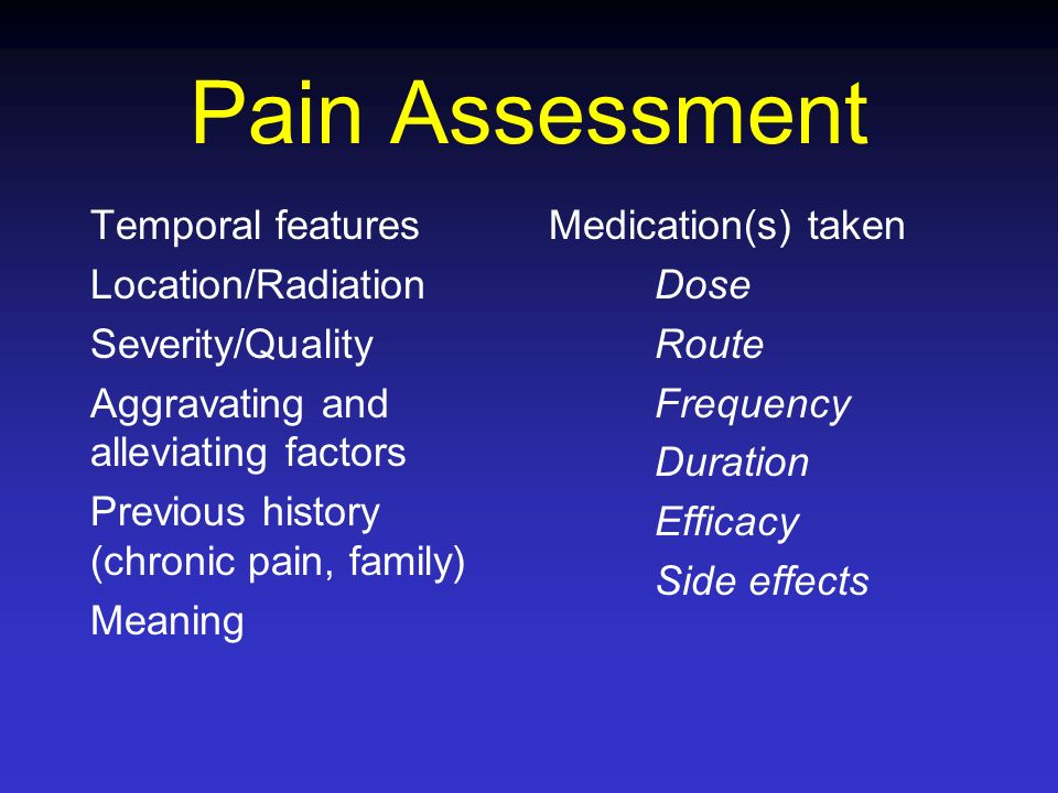Pain Assessment Temporal features Location/Radiation Severity/Quality