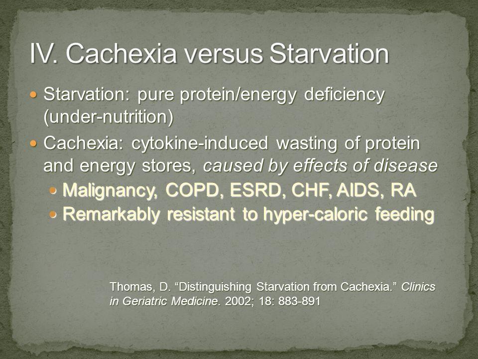IV. Cachexia versus Starvation