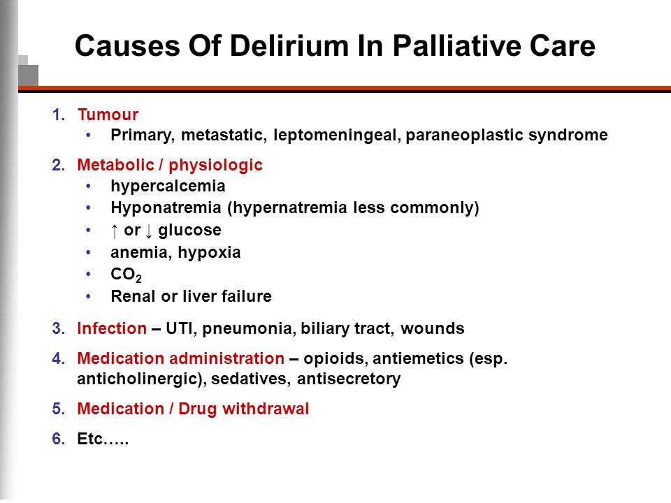 Causes Of Delirium In Palliative Care