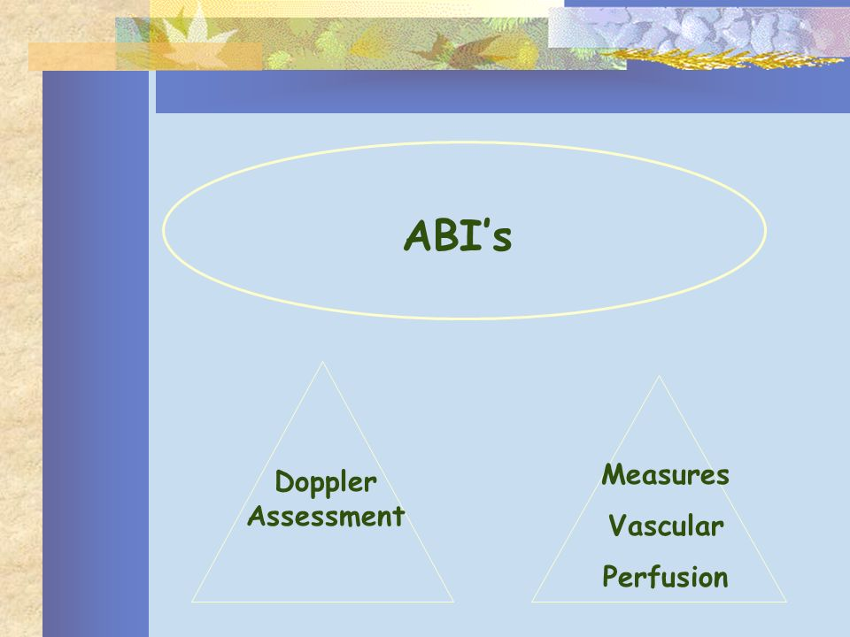 ABI's Measures Vascular Perfusion Doppler Assessment