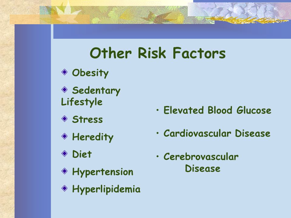 Other Risk Factors Obesity Sedentary Lifestyle Stress