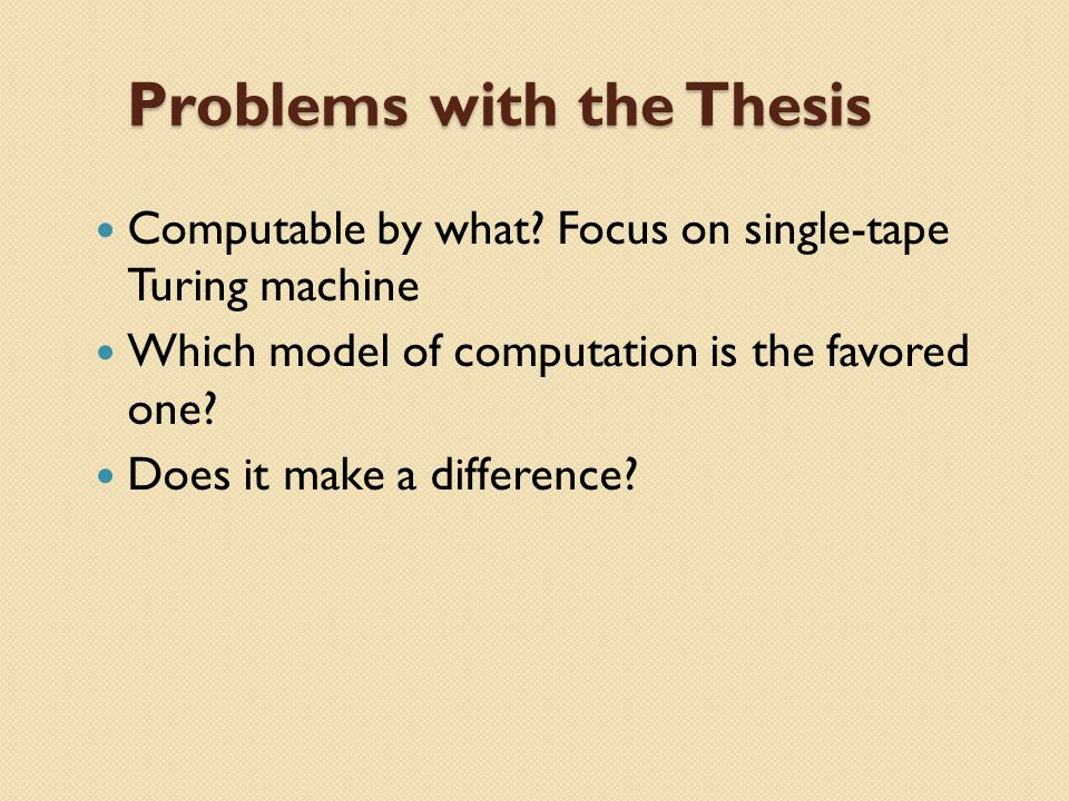 Problems with thesis