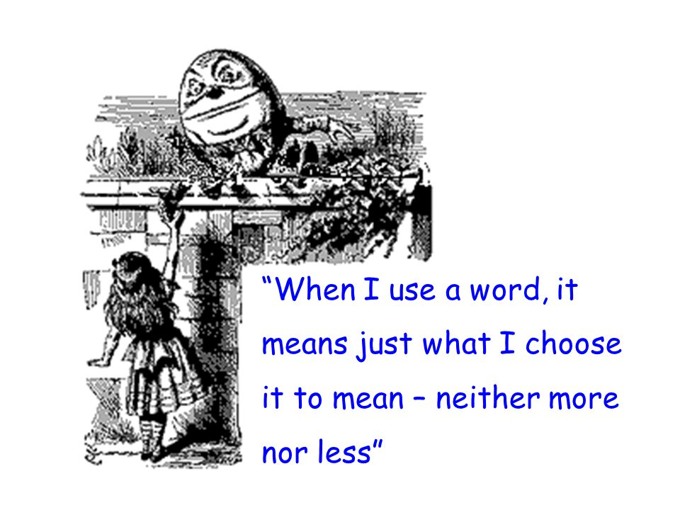 When I use a word, it means just what I choose it to mean – neither more nor less