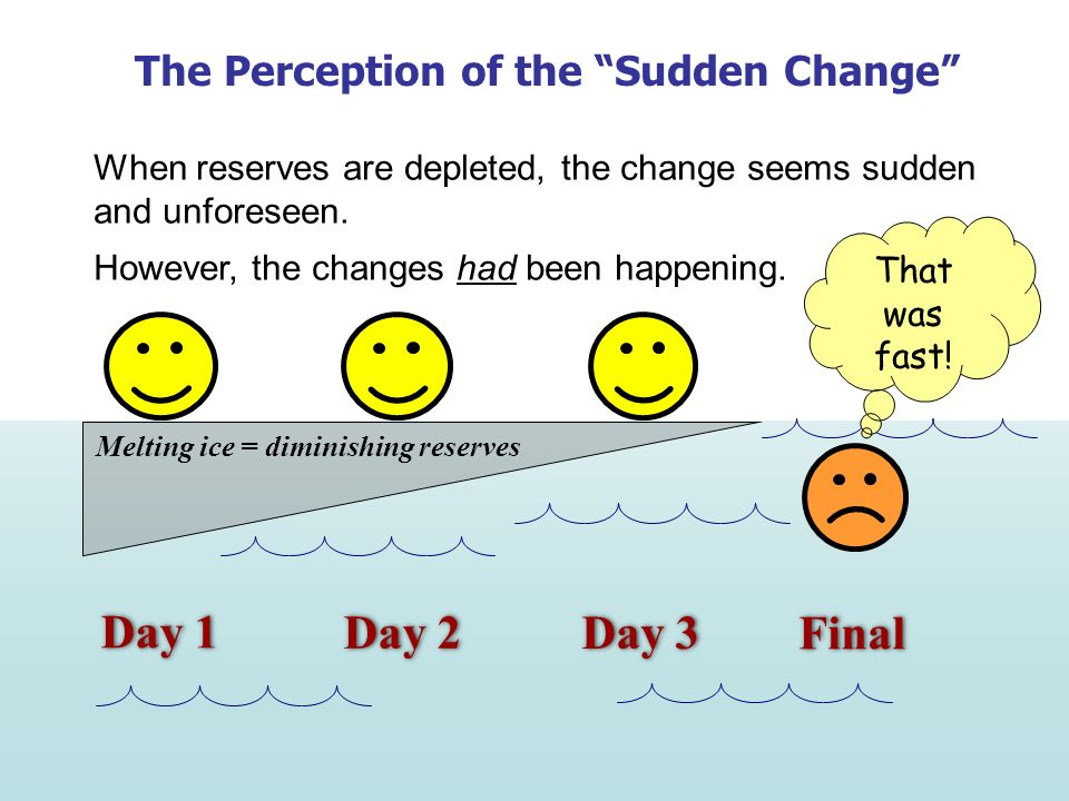 Day 1 Day 2 Day 3 Final The Perception of the Sudden Change