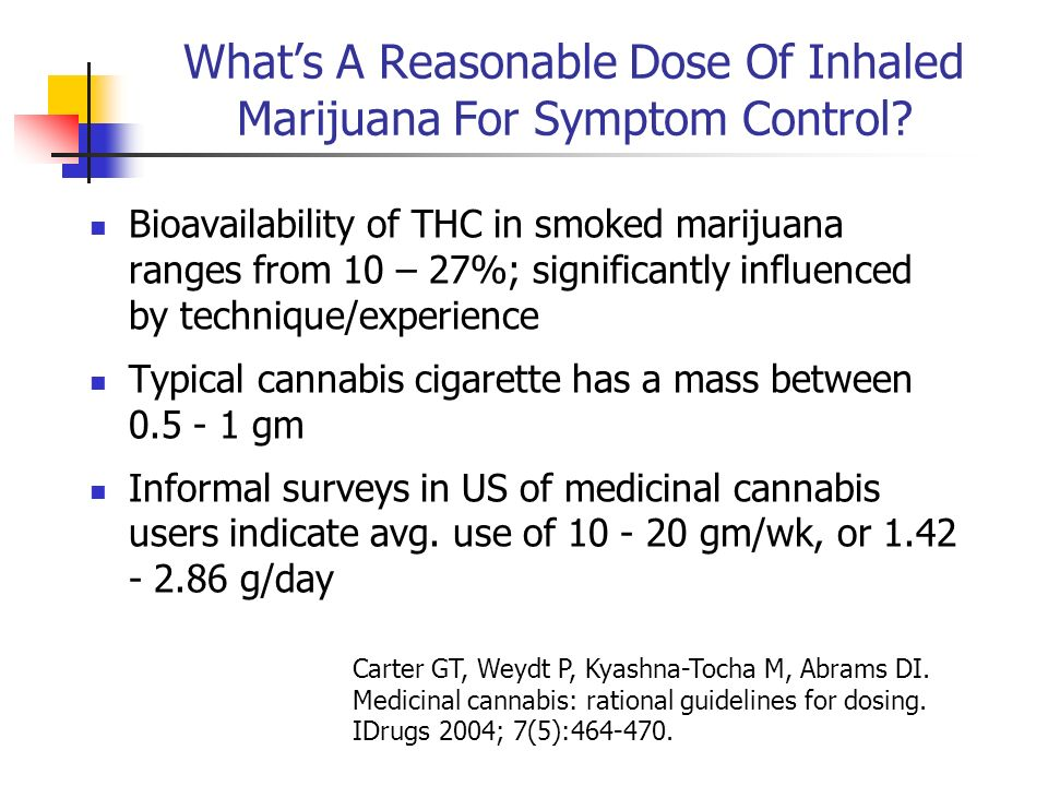 What's A Reasonable Dose Of Inhaled Marijuana For Symptom Control