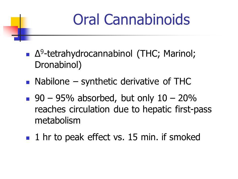 Oral Cannabinoids ∆9-tetrahydrocannabinol (THC; Marinol; Dronabinol)