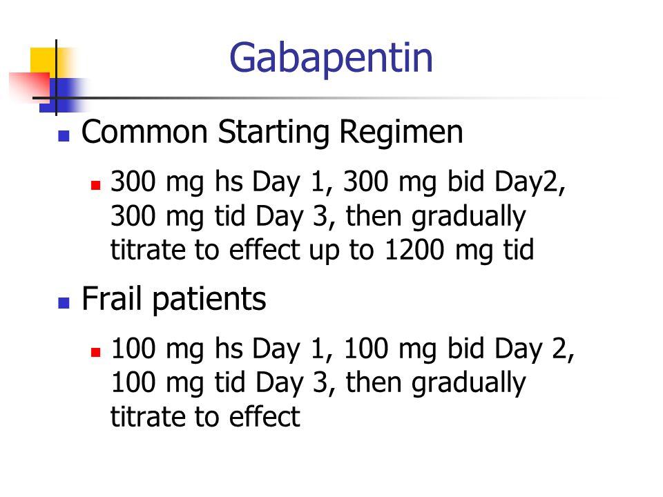 Gabapentin Common Starting Regimen Frail patients