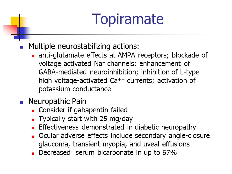 Topiramate Multiple neurostabilizing actions: Neuropathic Pain