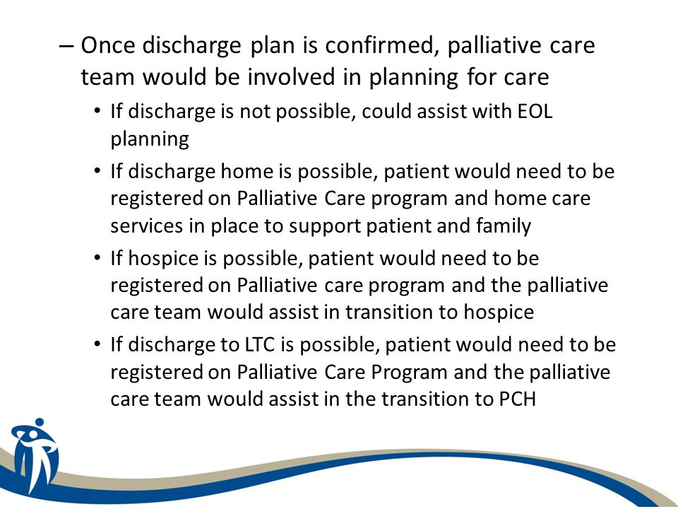 Once discharge plan is confirmed, palliative care team would be involved in planning for care