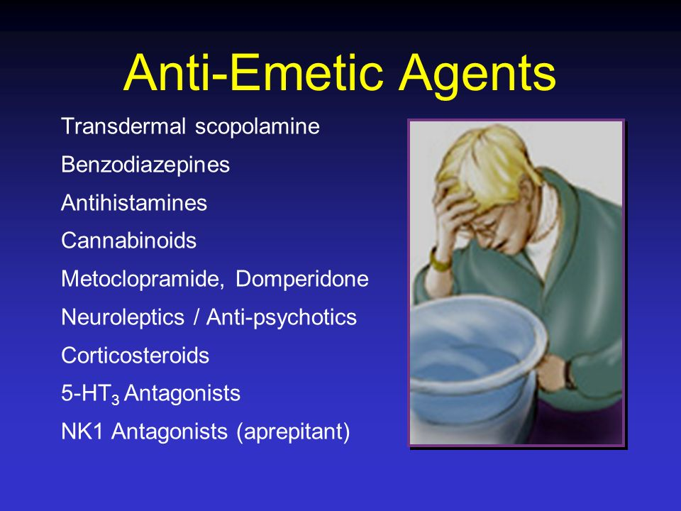 Anti-Emetic Agents Transdermal scopolamine Benzodiazepines