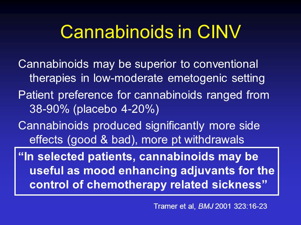 Cannabinoids in CINV Cannabinoids may be superior to conventional therapies in low-moderate emetogenic setting.
