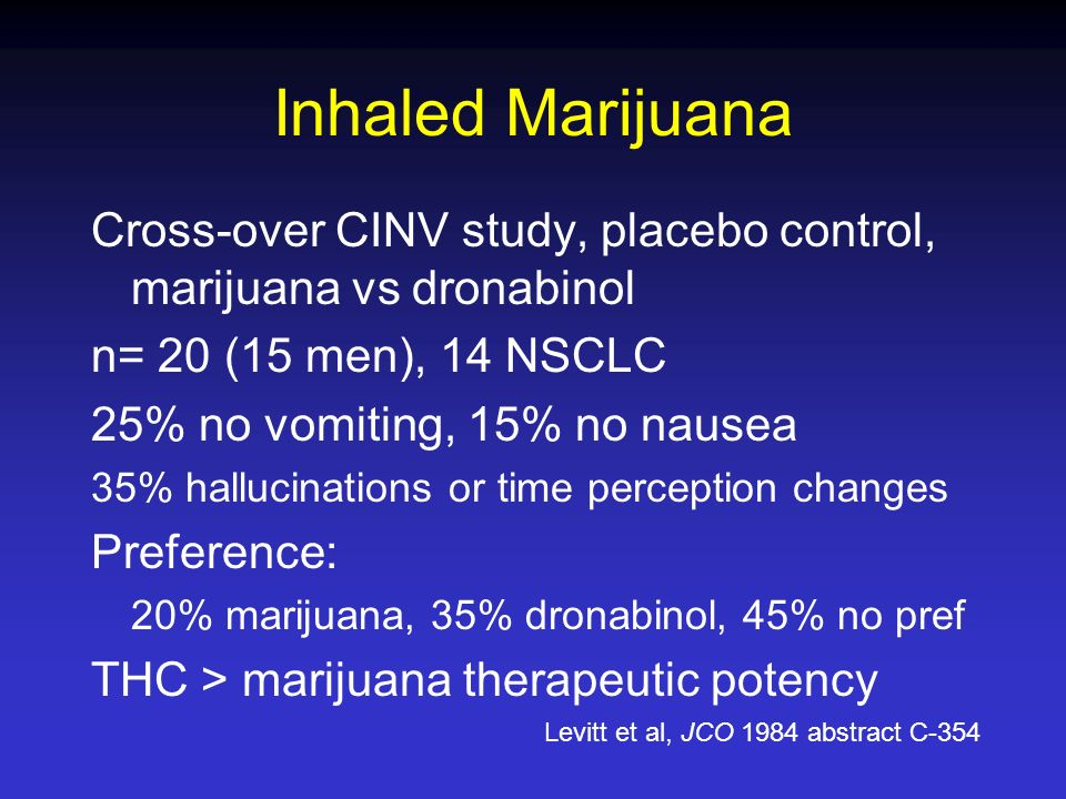 Inhaled Marijuana Cross-over CINV study, placebo control, marijuana vs dronabinol. n= 20 (15 men), 14 NSCLC.