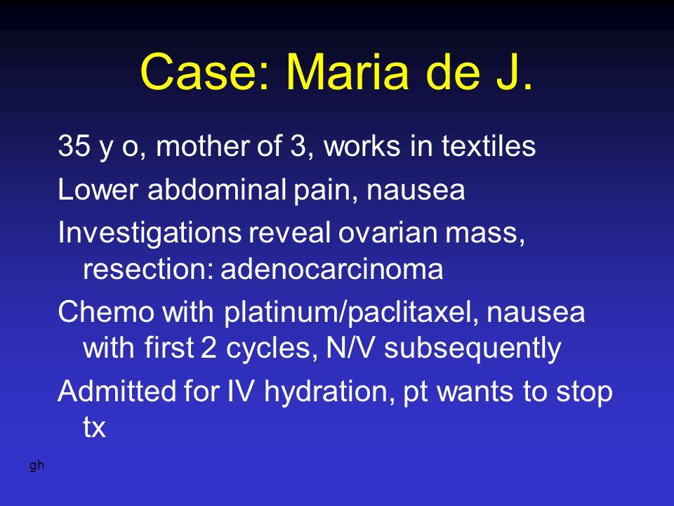 Case: Maria de J. 35 y o, mother of 3, works in textiles